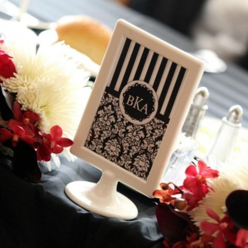 Real Wedding Pictures - Avital and Brett's Monogrammed Table Cards