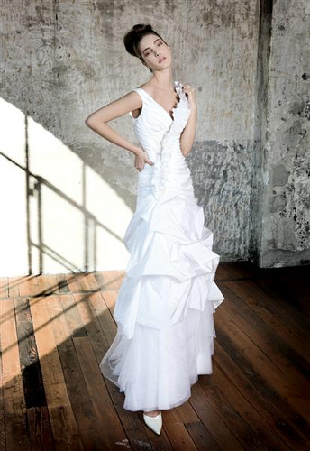 a line wedding dress picture with pickups