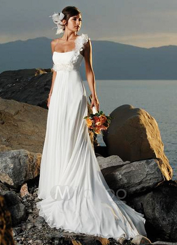 Asymmetric Wedding Dress With Tulle-Adorned Strap