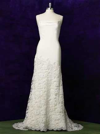 A-Line Wedding Gown With Asymmetrical Lace Skirt
