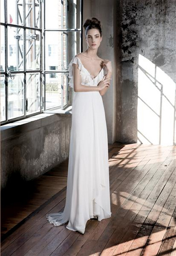 Chiffon Sleeved Wedding Dress