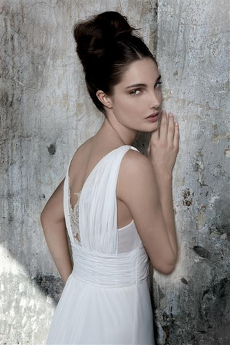 Chiffon and Lace Wedding Gown - Back Detail