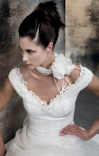 corset wedding dress picture with cap sleeves