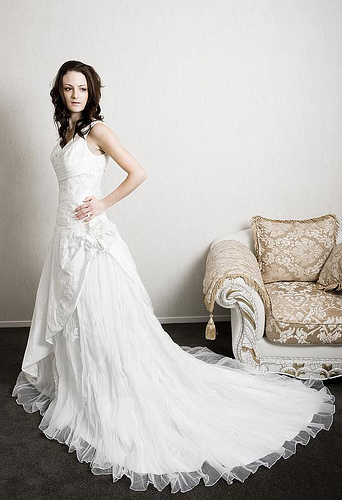 Side Gather Wedding Dress Picture