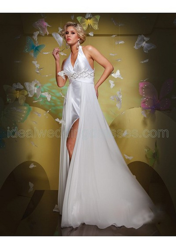 halter wedding dress - slit