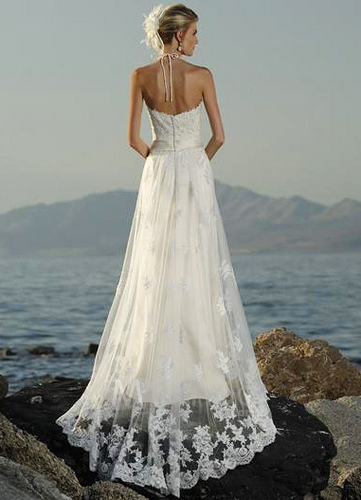 halter wedding dress - spaghetti straps