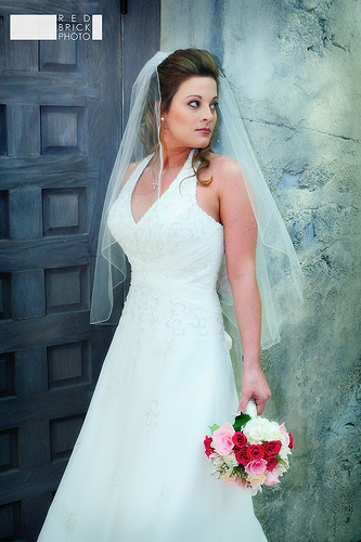 halter wedding dress - v-neck