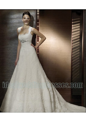 lace a line wedding dress picture with beading