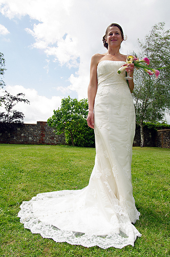 Lace and Satin Wedding Dress Pictures With Chapel Train