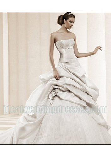 organza asymmetrical wedding dress picture