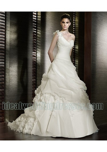 Organza One Shoulder Weddling Dress