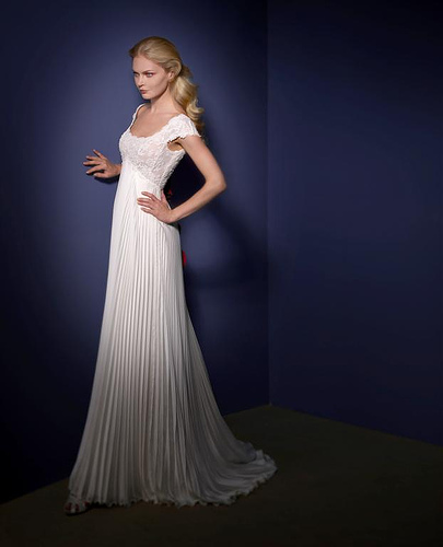 Wedding Dress With Cap Sleeves and Pleats