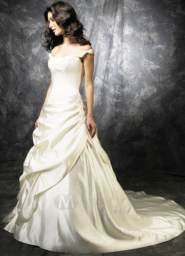 Satin Off-Shoulder Wedding Dress