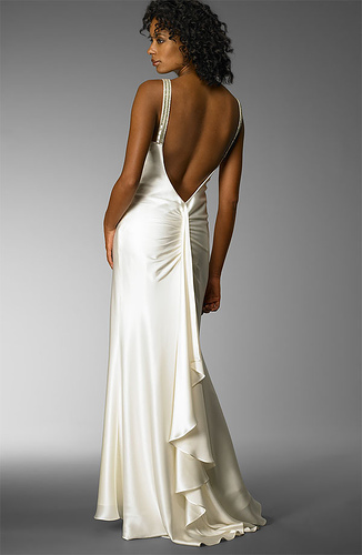 Satin Sheath Wedding Dress: Back