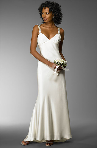 Satin Sheath Wedding Dress: Front