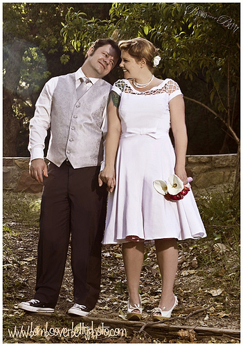 short wedding dress pictures - funky cap sleeves