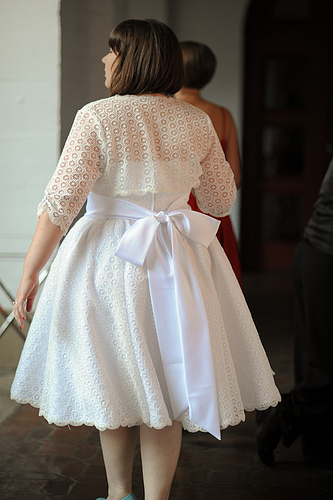 Short Wedding Dress With Lace Bolero