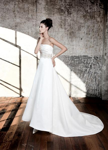 Silk Strapless Wedding Dress