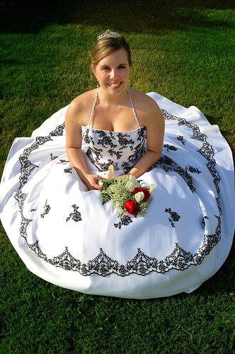 Unique Black-and-White Halter Wedding Dress