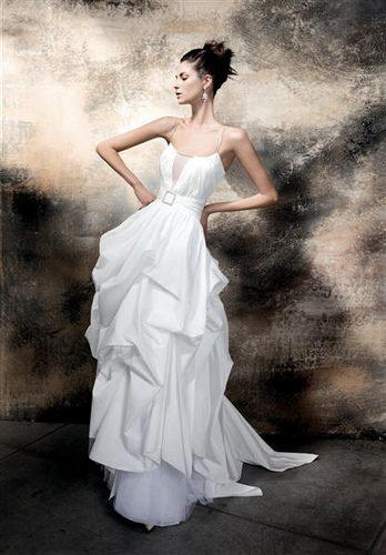 Belted Bridal Gown With Pickups