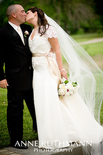 Spaghetti strap wedding dress with cap sleeves