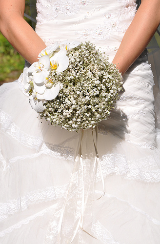 Baby's Breath Bridal Bouquet With Orchids