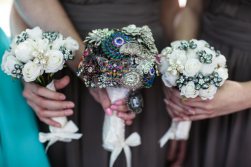 Flower-and-Brooch Wedding Bouquets