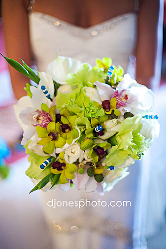 White and Green Orchid Wedding Flowers