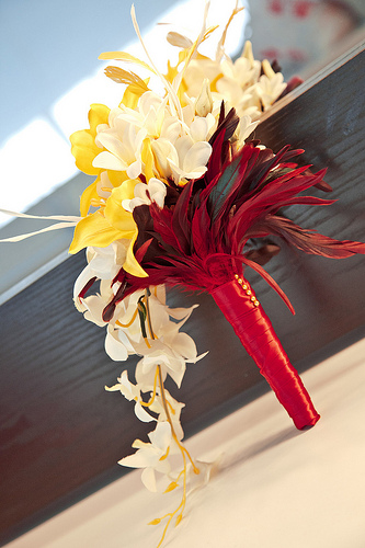 Cool Orchid and Feather Wedding Bouquet