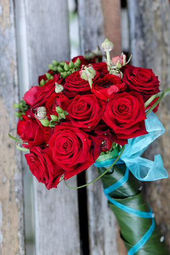 Real Wedding Pictures: Aqua and Red Bridal Bouquet