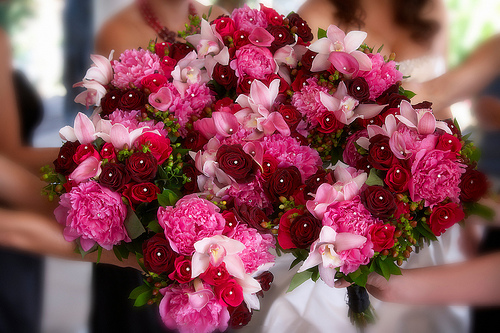 Pretty Red and Pink Wedding Flowers