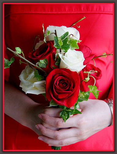White and Red Rose Wedding Flowers With Ivy