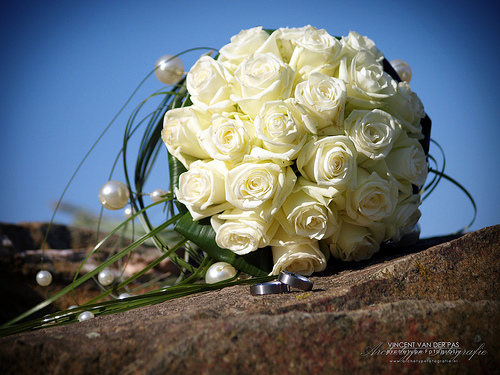 White Wedding Flowers - Elegant Roses with Pearl Accents