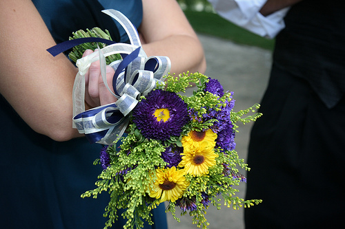 Yellow and Purple Bridal Bouquet Picture